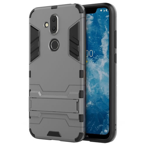 Slim Armour Tough Shockproof Case & Stand for Nokia 8.1 - Grey